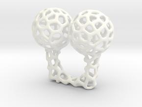 Vorronoi Ring in White Processed Versatile Plastic