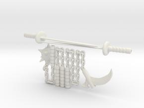 4 inch Munny Ninja weapons in White Natural Versatile Plastic