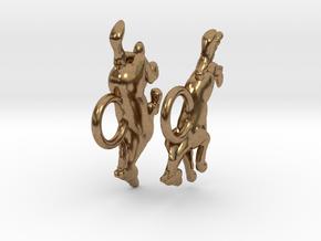Running Horse Earrings in Natural Brass
