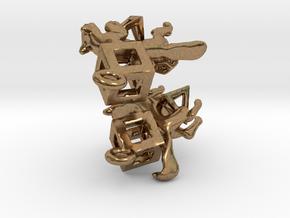 Fox in polygons Earrings set in Natural Brass