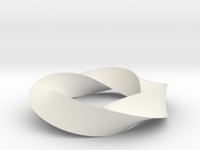 Mobius Loop - Triangle 4/3 twist in White Natural Versatile Plastic