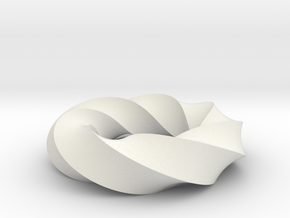 Mobius Loop - Square 7/4 twist in White Natural Versatile Plastic