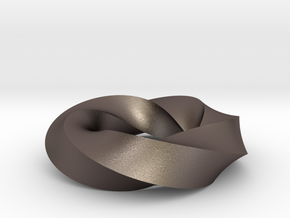 Mobius Loop - Square 5/4 twist in Polished Bronzed Silver Steel