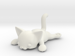 Flat Cat in White Natural Versatile Plastic