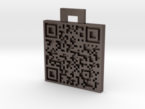QRCode -- My name is Mike, and you\'re a nerd. in Polished Bronzed Silver Steel