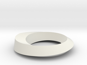 Mobius Loop Levelled - Square 1/4 twist in White Natural Versatile Plastic
