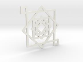 Illusionary Square Pendant in White Natural Versatile Plastic