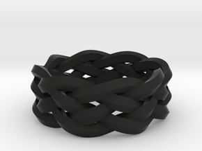 Five-Strand Braid Ring in Black Natural Versatile Plastic