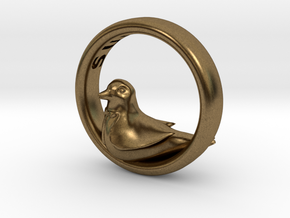 Reverse Bird Ring in Natural Bronze