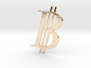 Bitcoin Logo 3D in 14K Gold