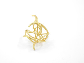 Aster Ring (Large) Size 7 in Polished Gold Steel