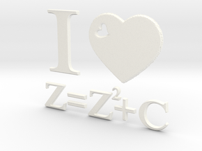 I Love Mandelbrot Z=Z^2+C 3D in White Strong & Flexible Polished