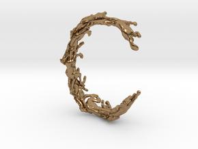 Running Horses Bracelet in Natural Brass