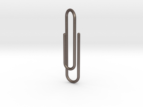 Clip tie bar lg in Polished Bronzed Silver Steel