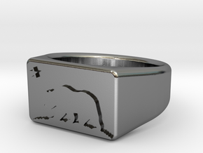 Ring of the bear flag republic in Polished Silver