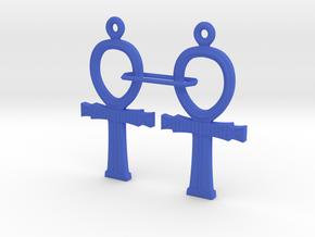 Ankh EarRings - Pair - Plastic in Blue Processed Versatile Plastic