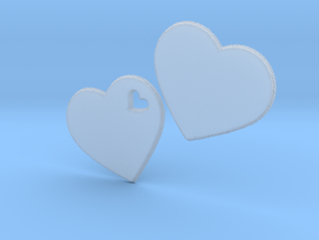 LOVE 3D Hearts 80mm in Smooth Fine Detail Plastic