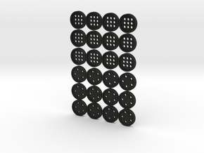 "tiny (5/16"") buttons (12 star, 12 alphabet) in Smooth Fine Detail Plastic"