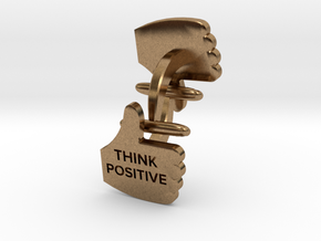 Thumbs Up think positive Cufflink in Natural Brass
