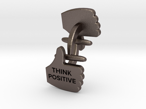 Thumbs Up think positive Cufflink in Polished Bronzed Silver Steel