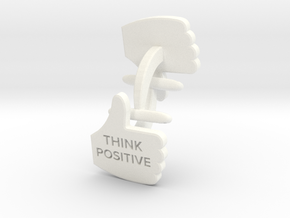 Thumbs Up think positive Cufflink in White Processed Versatile Plastic