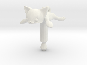 Round Flat Cat, Jack Protector Audio in White Natural Versatile Plastic
