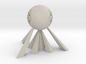 Suspended Sphere with Flower of Life Sculpture in Natural Sandstone