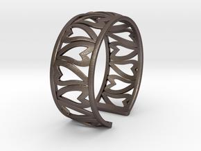 HeartBracelet in Polished Bronzed Silver Steel