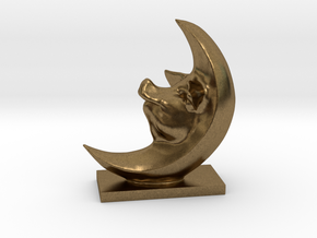Pig In The Moon 3 Inches Tall  in Natural Bronze