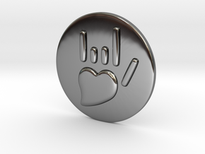 Coin-L - Handsign -  I love you in Fine Detail Polished Silver