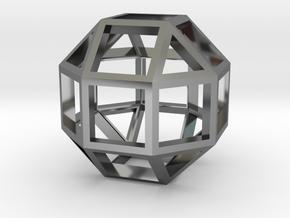 Rhombicuboctahedron Pendant in Fine Detail Polished Silver