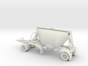 HO 1/87 Shorty Dry Bulk Trailer 07a (pup & dolly) in White Strong & Flexible