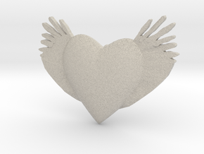 Joyful Heart With Wings Pendant  in Natural Sandstone