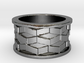 Escher Cubes Ring Size 9 in Premium Silver