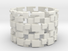Borg Cube Ring Size 10 in White Natural Versatile Plastic