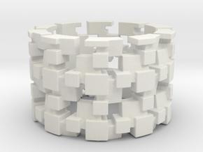 Tilt Cubes Ring Size 8 in White Natural Versatile Plastic