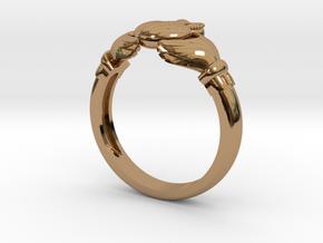 Irish Claddagh ring in Polished Brass