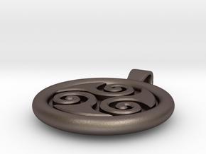 Big Triskell Negative Engrave Pendant in Polished Bronzed Silver Steel