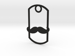 Movember dog tag in Black Natural Versatile Plastic