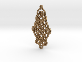 Raindrop Celtic Knot Pendant 40mm in Natural Brass