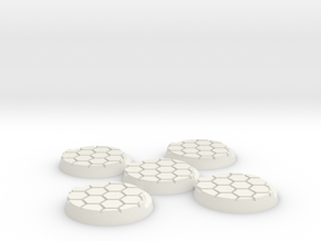 25mm-hex-5Pack in White Natural Versatile Plastic