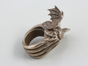 Cthulhu Ring in Polished Bronzed Silver Steel: 11 / 64