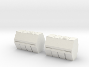 1/87 Scale Medical Containers in White Natural Versatile Plastic