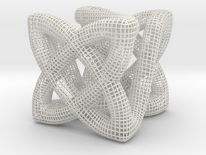 Twisty Cube in White Natural Versatile Plastic