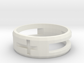 Double Cross Ring (Less Material) in White Natural Versatile Plastic