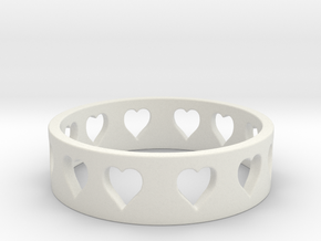 All Hearts Ring Size 7 in White Natural Versatile Plastic