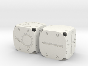 Tinker Dice (Plastic) in White Strong & Flexible