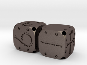 Tinker Dice (Metal) in Polished Bronzed Silver Steel