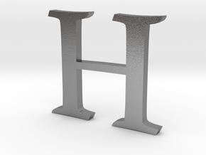 H (letters series) in Raw Silver