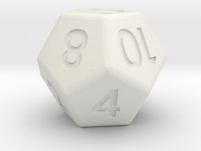 12-sided die (d12) in White Natural Versatile Plastic